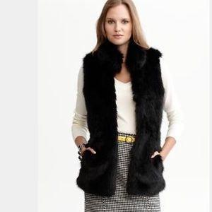 Banana Republic Black Faux Fur Vest XS